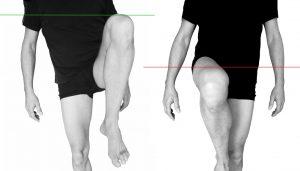 l'élévation d'un des genou est incomplète - le bassin est mal positionné